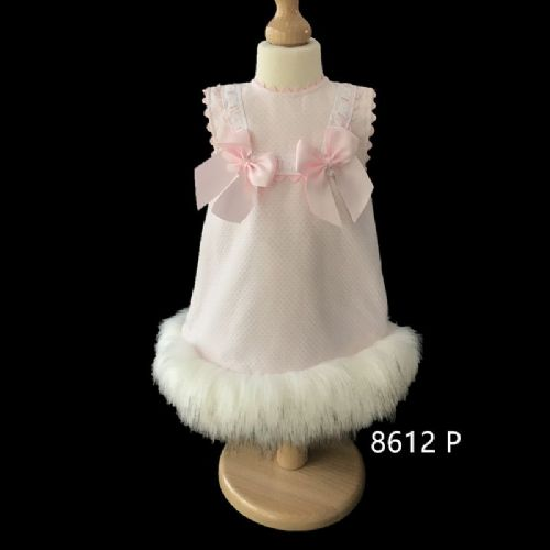Stunning Baby Girl Pink Spanish Fur Bottom Dress Cream Fur